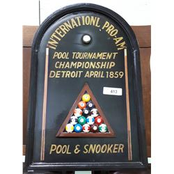 HANDPAINTED WOOD BILLIARDS SIGN