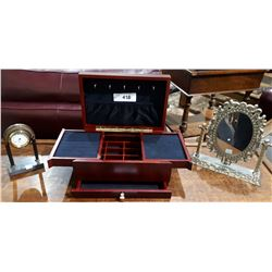 JEWELRY BOX, SMALL MANTLE CLOCK AND VANITY MIRROR