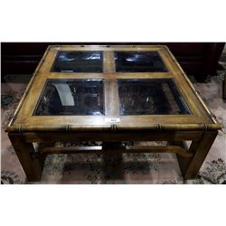 3 PIECE COFFEE AND END TABLE SET WITH BEVELED GLASS INSERTS.