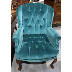 VINTAGE QUEEN ANNE STYLE WINGBACK PARLOUR CHAIR