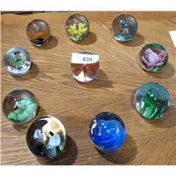 10 ART GLASS PAPER WEIGHTS