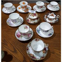 10 CHINA TEA CUPS AND SAUCERS