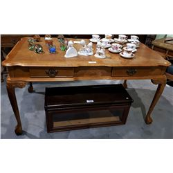 VINTAGE INLAID OAK DOUBLE SIDED DESK WITH BALL IN CLAW FEET