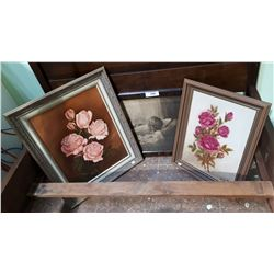 2 FRAMED OIL PAINTINGS AND A FRAMED VINTAGE PRINT