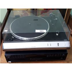SANYO TURN TABLE AND SONY 5 DISC CD CHANGER