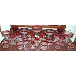 APPROXIMATELY 22 PIECES OF KINGS CROWN RUBY FLASH GLASSWARE