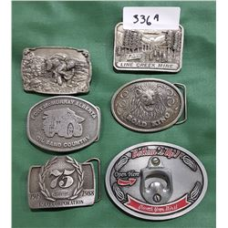 6 COLLECTIBLE BELT BUCKLES
