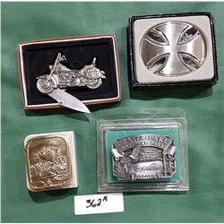 3 COLLECTIBLE BELT BUCKLES & FIGURAL MOTORCYCLE KNIFE