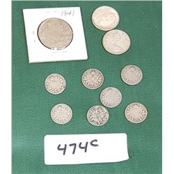 10 VINTAGE SILVER CANADIAN COINS