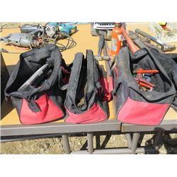 LOT OF 4 BAGS OF TOOLS (WRENCHES, PLIERS, SOCKETS, DRILL BITS, ETC…)