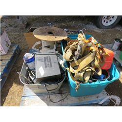 "PALLET LOT OF ASSORTED ITEMS ( RACHET STRAPS, GALVINIZED TUB, ROLL OF 1"" STRAPPING, ETC…)"