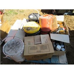 LOT OF PAINTING SUPPLIES ( PAINTS, SOLVENTS, 2 ROLLS OF TWINE)