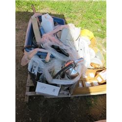LOT OF ASSORTED ITEMS ( NAILS, CASE OF FUSEABLE LINKS, TWINE, ETC…)