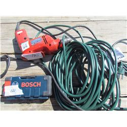 LOT OF ASSORTED ITEMS (MAKITA DRILL, BOSCH BIT SET, EXTENSION CORD)