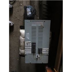 ASSORTED LOT INCLUDES (200 AMP BREAKER BOX WITH BREAKERS) *1HP ELECTRIC MOTOR)