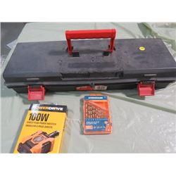 TOOL BOX AND CONTENTS (DRILL BITS, 100W PLUG, POWER INVERTOR, ETC…)
