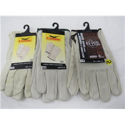 LOT OF 2 PAIS OF LEATHER GLOVES (2-LARGE, 1-MED) *LEATHER*