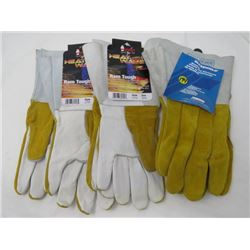 LOT OF 3 PAIRS OF GLOVES (WELDING AND OTHERS) *2-LARGE, 1-MEDIUM-LEATHER*