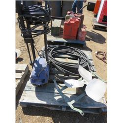 PALLET LOT INCLUDING HYDRAULIC HOSE, PRESSURE WASHER AND FAN