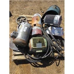 PALLET LOT INCLUDING ELECTRIC MOTORS AND PULLEYS