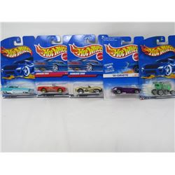 LOT OF 5 HOTWHEEL VEHICLES (EXPRESS LANE, 58 CORVETTE, FERRARI 250, JAGUAR XK8, METRORAIL)