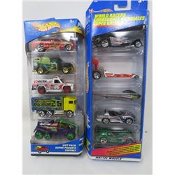 LOT OF 2 GIFT PACK HOTWHEEL VEHICLES (10 VEHICLES IN TOTAL)