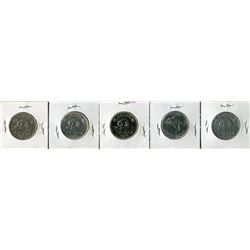 LOT OF 5 FIVE CENT COINS (CANADA) *1967, 1973, 1969, 1947, 1952*