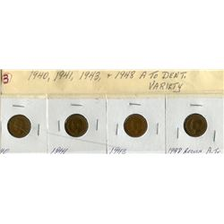 LOT OF 4 ONE CENT COINS (CANADA) *1940, 1941, 1943, 1948*