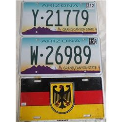 LOT OF 3 LICENSE PLATES (2 ARIZONA 2011-12, GERMANY DECORATIVE PLATE)
