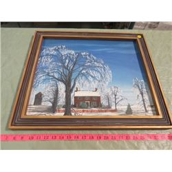 FRAMED PAINTING (WINTER SCENE) *UNSIGNED)