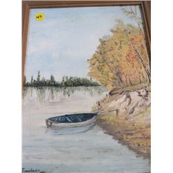 BOAT IN WATER SCENE PAINTING (1979) *D JACOBSEN* (SIGNED)