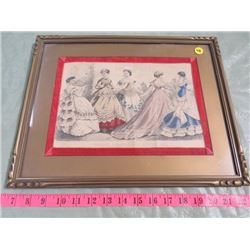 FRAMED PRINT (GODEY'S FASHIONS FOR AUGUST) *1867*