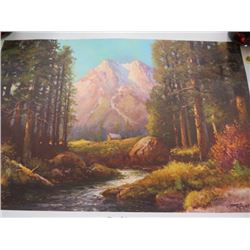 PRINT (MAJESTIC PEAKS BY ROBERT WOOD) *NOT FRAMED* (SIGNED)