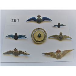LOT OF 7 ROYAL CANADIAN AIR FORCE SWEETHEART PINS  (3 Sterling Silver)