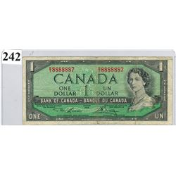 $1.00 BANKNOTE (1954 BANK OF CANADA) *NEARLY SOLID NUMBERED BANKNOTE*