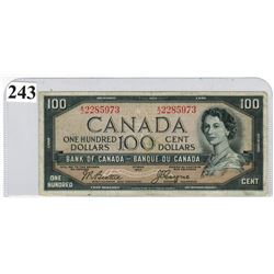 $100.00 BANKNOTE (BANK OF CANADA) *DEVIL'S FACE NOTE, 1954 *