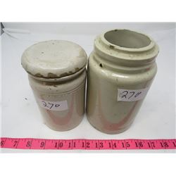 LOT OF 2 CROCKERY PIECES (1/2 GALLON AND 1/4 GALLON-HAS LID AND HAIRLINE CRACKS)