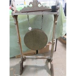 "ANTIQUE GONG (CAME FROM OLD LOGGING CAMP IN NORTHERN MANITOBA) *42"" TALL WITH STAND*"