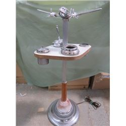 ANTIQUE DC-3 AIRPLANE SMOKE STAND (WITH LIGHT IN PLANE) *MODIFIED, NOT ORIGINAL PROPELLERS- DO NOT T