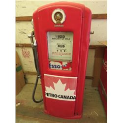 "GAS PUMP (BENNETT) *ANTIQUE* ( 57"" TALL, CIRCA 1940S-50S) *PLEASE NOTE: BIDS WILL START AT $250 AND"