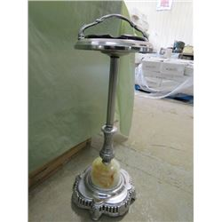 SMOKE STAND WITH ASHTRAY (MARBLE BASE) *ANTIQUE*