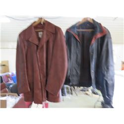 "LOT OF 2 LEATHER JACKETS (RETRO) *BLACK-40"" WAIST, 26"" SLEEVES, 25"" SHOULDERS-BROWN-48"" WAIST, 25"" S"
