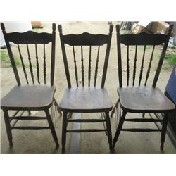 LOT OF 3 PRESS BACK CHAIRS