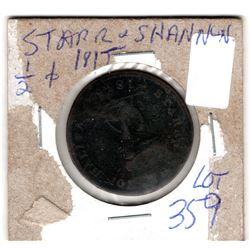 1815 STARR AND SHANNON HALF PENNY TOKEN