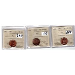 LOT OF 3  ICCS CERTIFIED ONE CENT COINS (1961,62,63)