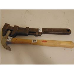 """CLAW HAMMER AND 15"""" MCKINNON WRENCH VINTAGE (PS MARKED ON HAMMER)"""
