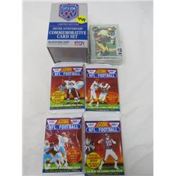 LOT OF 6 PACKS OF FOOTBALL CARDS (5 PACKS, SEALED) (SUPER BOWL XXV, SCORE AND PREMIER CLASSIC EDITIO
