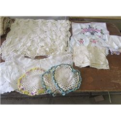 LOT OF 10+ DOILIES AND 1 LARGE TABLE RUNNER AND SOME EMBROIDERED COTTON