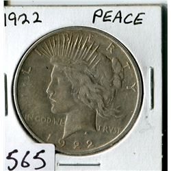 SILVER DOLLAR (USA PEACE) * 1922*