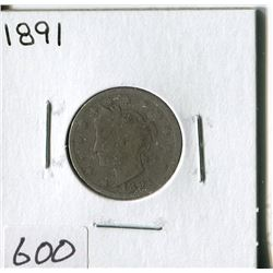 FIVE CENT COIN (USA, BARBER) *1891*